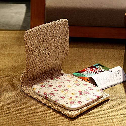 N/ A Sedia Tatami Moderna in Paglia Semplice, con Supporto Posteriore Sedie da Terra Senza Gambe Giapponesi Ergonomia Lettino per Il Tempo Libero per Balcone bay Window-e