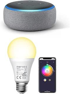Echo Dot 第3世代 - スマートスピーカー with Alexa、ヘザーグレー + Meross Wifi スマートLED電球 調光 調色モードライト カラー1600万色