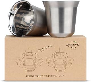 Copos de aço inoxidável de parede dupla da RECAPS Espresso, 80ml, 1
