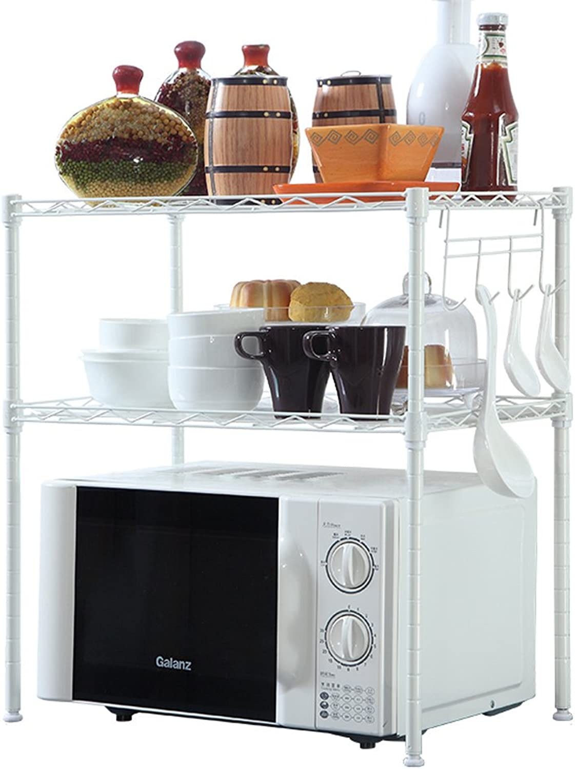 Kitchen Microwave Oven Oven Rack Spice Rack 2 Layers Storage Shelf -by TIANTA (color   B, Size   54  34  58 cm)