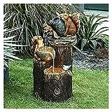 ZYuan Estatua Fuente Agua Pato Estatua Jardín Animales con Luces LED Solares Luces Jardín Alimentadas Estatua Fuente Agua Ardilla Escultura Resina Creativa para Exteriores (Color : Squirrel Regular)