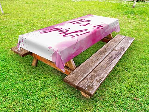 ABAKUHAUS Sexe Reveal Nappe Extérieure, Fille Frame Splash, Nappe de Table de Pique-Nique Lavable et Décorative, 145 cm x 265 cm, Multicolore