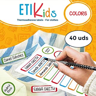 ETIKIDS 40 Clothing Labels for School and The Nursery School. Writable Fabric Labels (Color)