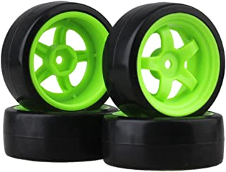 BQLZR 65 mm OD Black Plastic Smooth Tires with Green Wheel Rims for RC 1: 10 On Road Racing & Drift Car Pack of 4