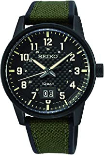 SEIKO men's Sport Khaki Dial Watch With Canvas Strap - SUR325P1