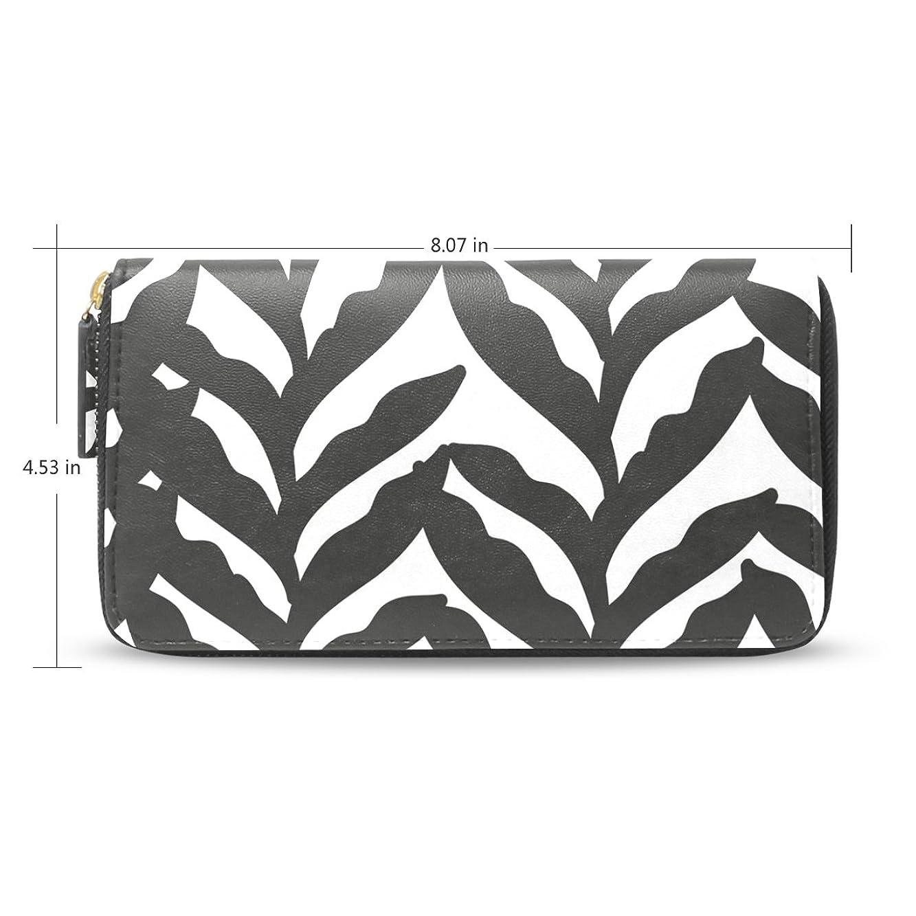 技術的なはい分割USAKI(ユサキ) レディース メンズ ファスナー 財布,かわいい 白黒 葉,お札 小銭 カード入れ 大容量 長財布 入学式 卒業式 誕生日 プレゼント
