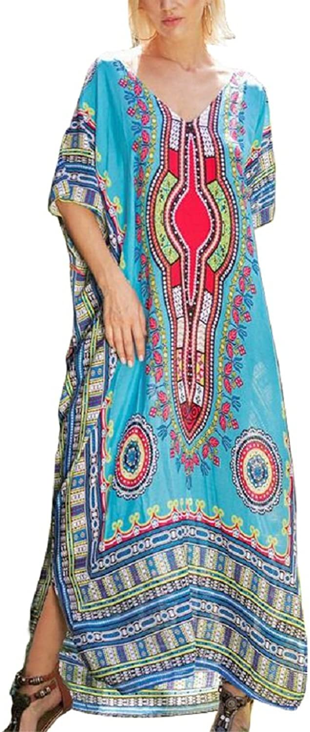 Salimdy Women's Soft African Print Beach Cover up Ethnic Dashiki Bathing Suit Maxi Dress