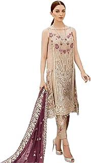المصمم الذهبي الهندي باكستاني العيد الخاص للمسلم الإحتفال، زي جورجيت مطرز مستقيم 5962