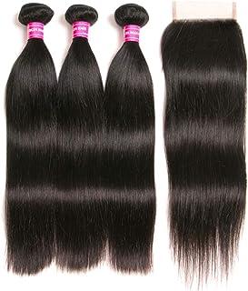 RUIMEISI Brazilian Straight Hair With Closure 3 Bundles Unprocessed Virgin Human Hair Bundles With Lace Closure Free Part ...