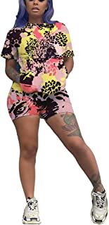 Akk Short Set Outfit for Women - Casual Sport 2 Piece Short Sleeve Print T Shirts Bodycon Shorts Tracksuits Set