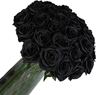 12 PCS Artificial Flowers Roses Silk Flowers Fake Long Stem Artificial Roses for Home Halloween Decorations (Black)