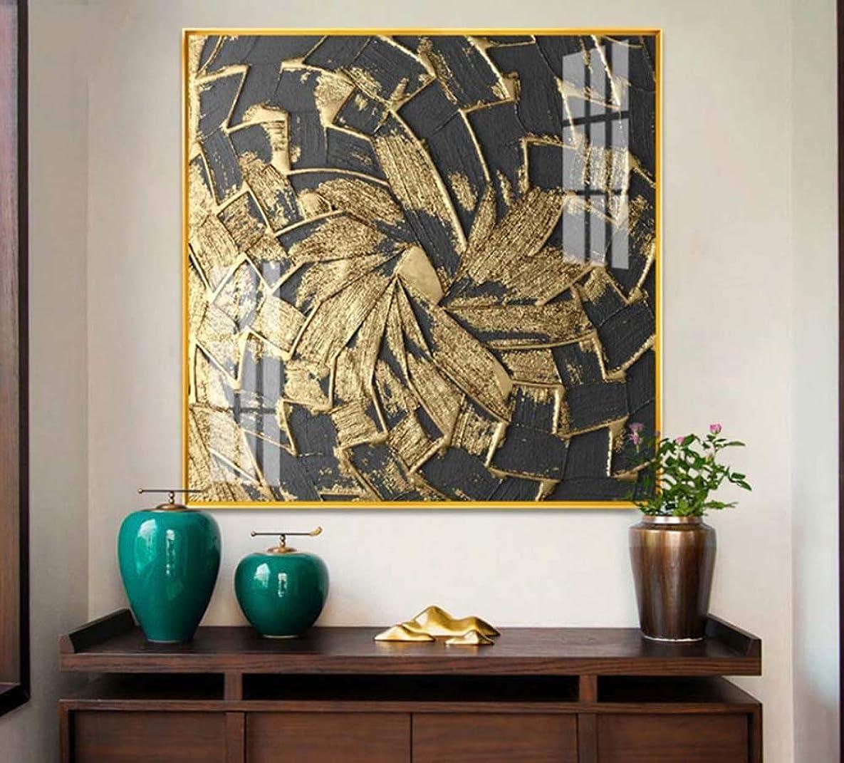わかるデータムジョージエリオット壁の装飾 40 * 40cm、50 * 50cm、60 * 60cm黄金時代の軽い贅沢なアルミ合金フレームの水晶磁器の絵画居間の装飾の絵画現代モデル家の壁画の正方形の入口のホテルのオフィスの芸術の絵画 (Size : 50*50cm)
