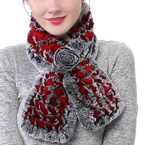 Valpeak Real Fur Scarves Women Winter Fur Neck Warmer Scarf Cold Weather Rabbit Knitted Fuzzy Fluffy (Red)