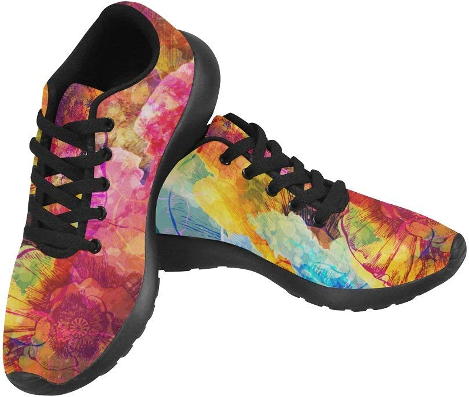 InterestPrint Watercolor Doodle Women's Running shoes Casual Lightweight Athletic Sneakers US Size 6-15
