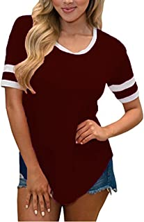 SimpleFun Women Summer Short Sleeve Baseball Tee Shirts Crew Neck Tshirts Loose Casual Blouses Tops