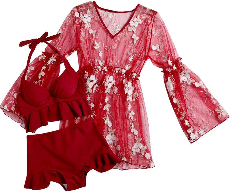 HHRONG Women's Swimwear Lace Petal Split Swimsuit Beach Holiday Bikini Swimsuit ThreePiece Suit Red