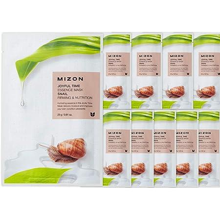 Korean Skincare Essence Full Face Mask Sheet, Mizon Joyful Time Essence Mask Sheets (Snail x10)