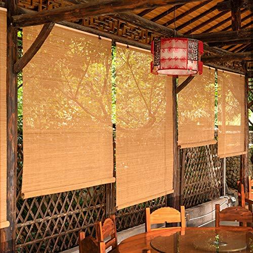 Persiana Enrollables Bambú 80cm / 100cm / 120cm / 130cm / 140cm de Ancho Cortinas Enrollables al Aire Libre, Persiana Enrollable de Bambú con Protección UV con Guarnición, para Terraza / Porche / Pati