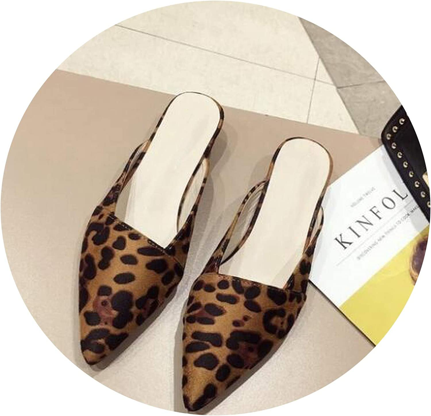 Women Lazy Loafers shoes Low Heels Female Leopard Breathable Summer Slides Flipflops Microfiber Slippers