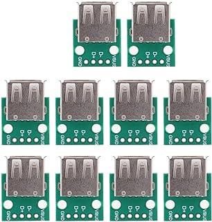 10pcs Adaptador USB a DIP 2.54mm Pitch Type A Junta hembra Breakout Board PCB Converter Module