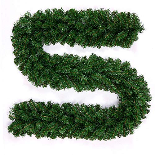 PandaHug 2.7m Plain Green Christmas Garland Decoration for Stair Fireplace Pine Artificial Wreath Xmas Tree Decorations (9ft)