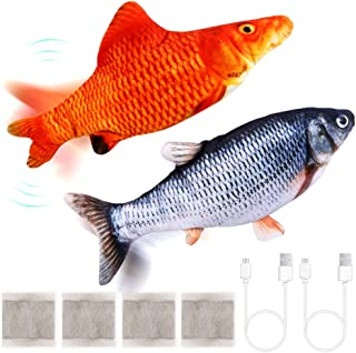 PP OPOUNT 2 Packs Electric Wagging Fish Toy Realistic Moving Fish Toy Dancing Fish Catnip Toys Plush Interactive Cat Toys ...