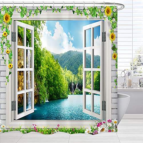 Nature Scene Shower Curtain Fabric, Spring Mountain Trees Lake Scenery from Window Bath Curtain Scenic, Landscape Waterproof Fabric Bathroom Shower Curtain with Hooks