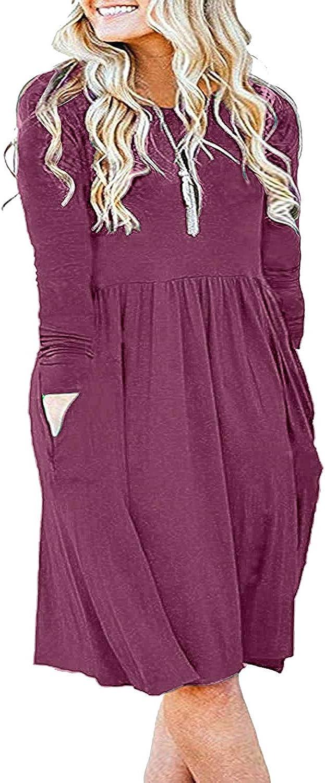 KARALIN Women's Plus Size Long Sleeve Pockets Empire Waist Pleated Loose Swing Casual Flare Dress