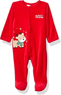 Little Me Baby-Boys LCQ08891N Holiday Velour Footies Footie - red