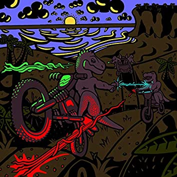 Dinosaurs on Motorbikes With Lasers