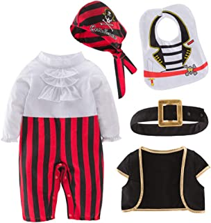 May's Baby Baby Boy Captain Baby Clothing Cap Pirate Costume Role-Playing Jumpsuit Suit