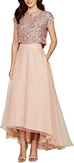 Lilibridal Women's 2 pc's Bridesmaid Dressequin High Low Evening Prom Pageant Ball Gown