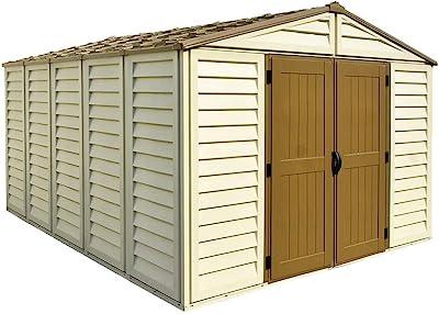 WoodBrige Plus Abri de jardin en PVC 320 x 396 cm Beige et marron