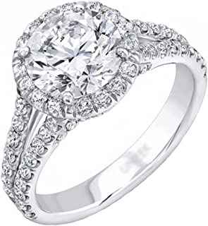 Halo Set Solitaire Cubic Zirconia Promise Engagement Ring Double Band 925 Sterling Silver Ring Sizes 6-9