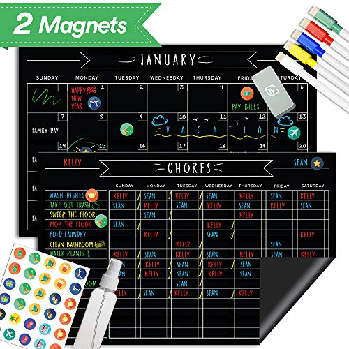Magnetic Refrigerator Home School Chore Chart Set - 11' x 17' Inches - Chalkboard Dry Erase Reusable Calendar - Improve Responsibility & Behavior,...