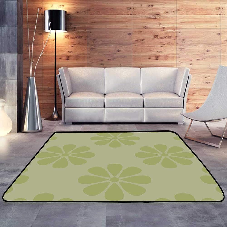 Kids rugsOlive Green Floral Design W 47  x L71 Slip-Resistant Washable Entrance Doormat
