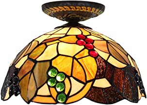 Tiffany Ceiling Fixture Lamp Semi Flush Mount 12 Inch Grape Stained Glass Lampshade for Dinner Room Living Room Bedroom Li...