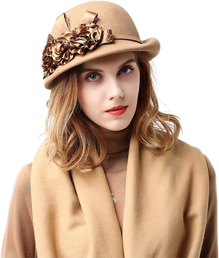 F FADVES English Afternoon Tea Hats for Women with Flowers Veil Royal Wedding Fascinators Ladies Church Hat