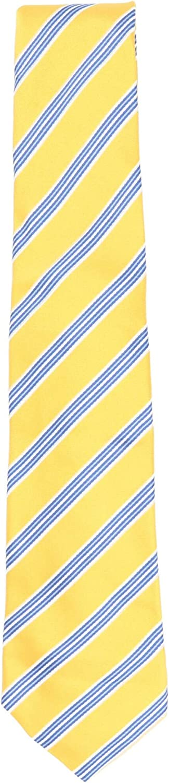 Kiton Napoli Men's Yellow/Blue White Silk and Linen Diagonal Striped Necktie - One Size