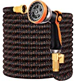 """Expandable Garden Hose 75FT Water Hose with 10 Function Nozzle and Durable 4-Layers Latex, Extra Strength 3750D Flexible Hose with 3/4"""" Solid Brass Fittings and High Pressure Water Spray Nozzle Hoses"""