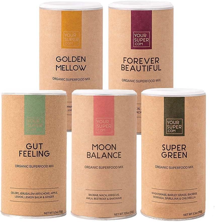 Your Super Best Seller 5 Pack Bundle - Includes Gut Feeling, Moon Balance, Super Green, Golden Mellow and Forever Beautiful Mixes
