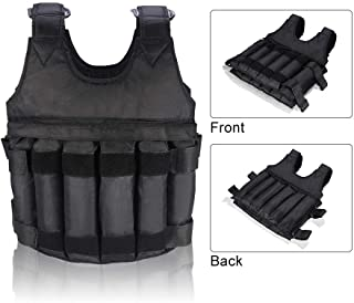 Yosoo 44LB/ 20KG Adjustable Weighted Vest Workout Exercise Boxing Training Fitness (Weights not Included)