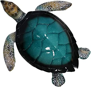 Liffy Gift Resin Sea Turtle Statues Outdoor Coastal Wall Sculptures Indoor Ocean Art Decorations for Living Room, Pool or ...