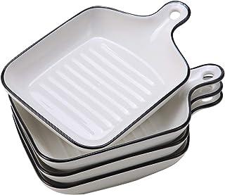 """EAMATE Ceramic Baking Dish, 6.5"""" Individual Lasagna Baking Dish with Handle, Small Shallow Baking Pan, Oven Safe, Set of 4"""