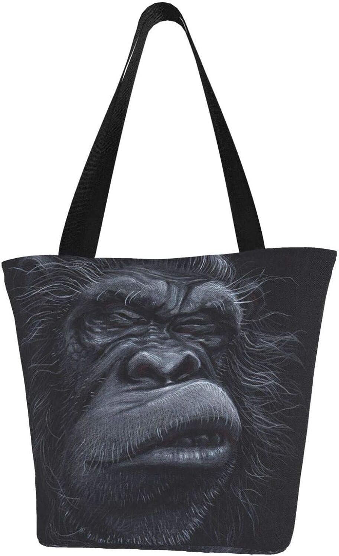 Gorilla Lovely Ugly Face Funny Theme Themed Printed Women Canvas Handbag Zipper Shoulder Bag Work Booksbag Tote Purse Leisure Hobo Bag For Shopping