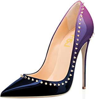 Women Pumps Pointed Toe High Heel Stilettos Rivets Studded Patent Leather Shoes Size 4-15 US