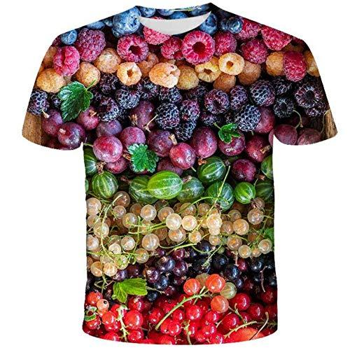 Camisetas Unisex Impresas En 3D, Camiseta Deportiva De Playa De Vacaciones para Jóvenes, Manga Corta con Estampado Gourmet De Frutas Y Verduras Coloridas-C_XXL