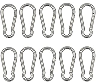 DGOL 10pcs 304 Stainless Steel Carabiner Snap Spring Hook Outdoor D Ring Chain Quick Link Lock Fastner Size 2 inch x 1 inch
