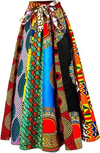 Shenbolen Women African Print Skirt Ankara Tradition Long Skirts One Szie (A, One Size)