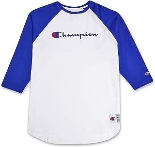 Mens Big and Tall Raglan Baseball T Shirt with 3/4 Sleeve and Script Logo